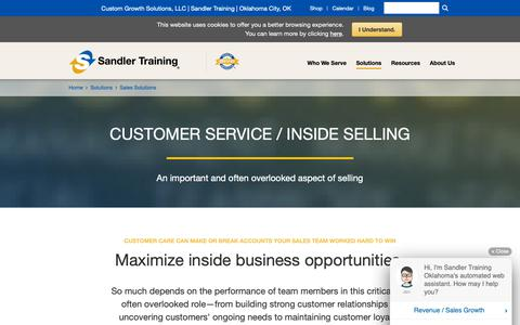 Screenshot of Support Page sandler.com - Customer Service / Inside Sales Training Solutions | Sandler Training - captured Nov. 1, 2018
