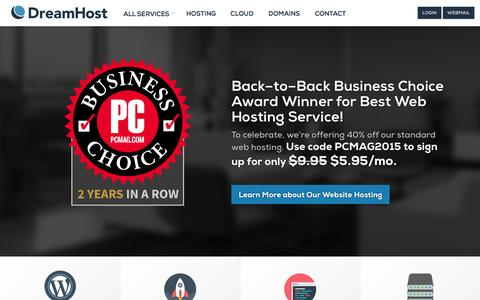 Screenshot of Home Page dreamhost.com - Web Hosting, Domains, VPS, Dedicated and WordPress Hosting – DreamHost - captured Aug. 8, 2015