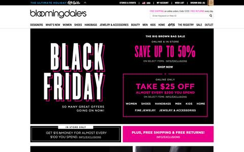 Screenshot of Home Page bloomingdales.com - Shop Bloomingdale's | Designer Dresses, Clothes, Shoes, Handbags, Cosmetics, Home and More - captured Nov. 27, 2015