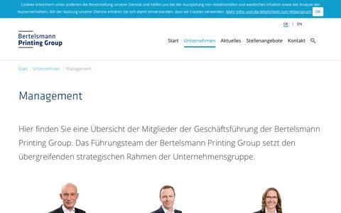 Screenshot of Team Page bertelsmann-printing-group.com - Bertelsmann Printing Group: Management - captured July 5, 2018
