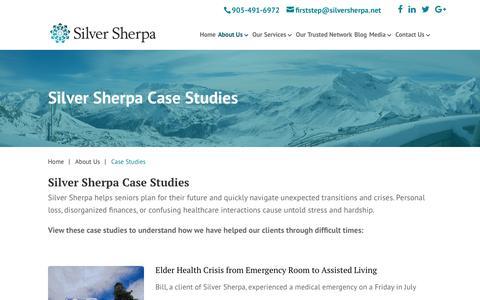 Screenshot of Case Studies Page silversherpa.net - Case Studies | Elderly Planning & Crisis | Silver Sherpa - captured Oct. 21, 2017