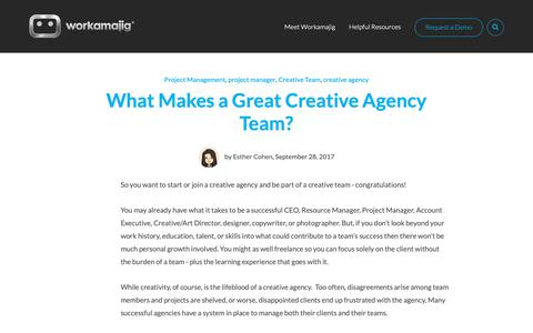 Screenshot of Team Page workamajig.com - What Makes a Great Creative Agency Team? - captured April 19, 2019