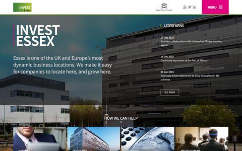 Screenshot of Menu Page investessex.co.uk - Invest Essex - captured Dec. 17, 2015