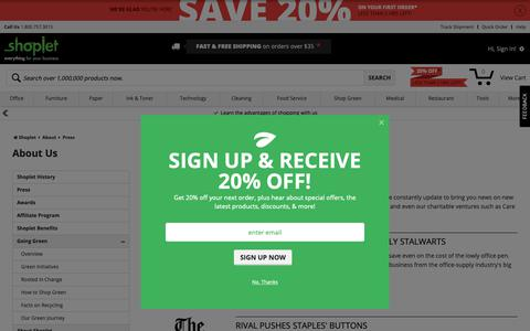 Screenshot of Press Page shoplet.com - Shoplet Press & Awards - Shoplet.com - captured Nov. 7, 2018