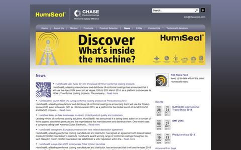 Screenshot of Press Page humiseal.com - News   HumiSeal® - captured Oct. 1, 2014