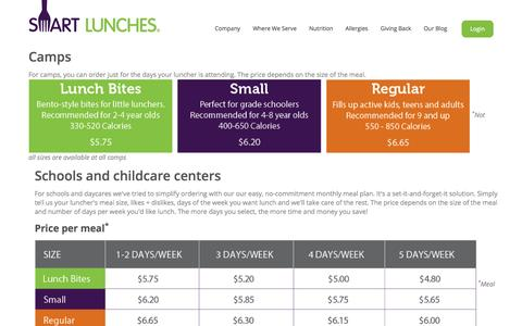 Screenshot of Pricing Page smartlunches.com - Smart Lunches | Pricing - captured Sept. 17, 2014