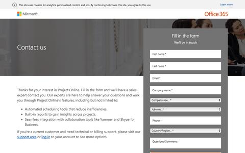 Screenshot of Landing Page office.com - Contact a Project Online sales expert - captured Sept. 19, 2018