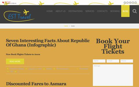 Screenshot of Blog esttravel.net - Est Travel Blog - Travel, Flights News about All Africa - captured Aug. 26, 2017