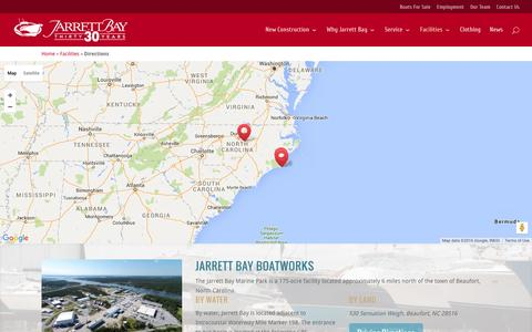 Screenshot of Maps & Directions Page jarrettbay.com - Directions - Jarrett Bay Boatworks - captured Feb. 11, 2016