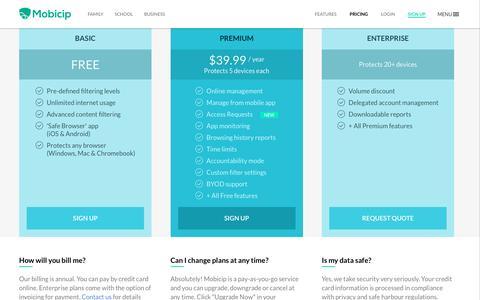 Screenshot of Pricing Page mobicip.com - Mobicip - Pricing - captured Dec. 4, 2016