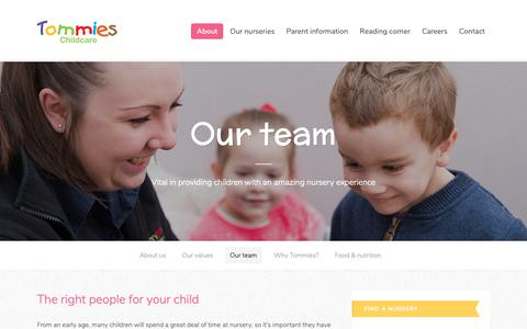 Screenshot of Team Page tommieschildcare.co.uk - Our team - Tommies Childcare - captured Oct. 19, 2018