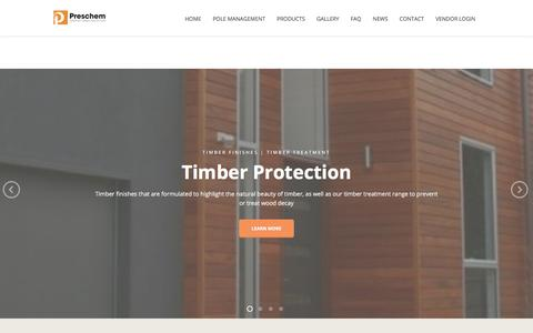 Screenshot of Home Page preschem.com - Preschem | Smarter Timber Protection | Timber Treatment - captured July 21, 2018