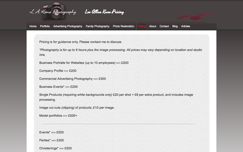 Screenshot of Pricing Page lakanephotography.co.uk - Product, Commercial, Advertising, Pricing London - captured Oct. 31, 2014
