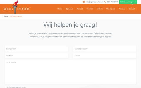 Screenshot of Contact Page sportsspeakers.nl - Wij helpen je graag! | SportsSpeakers - captured Sept. 21, 2018