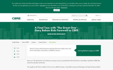 Screenshot of Jobs Page cbre.us - Gary Beban | CBRE - captured Sept. 23, 2019