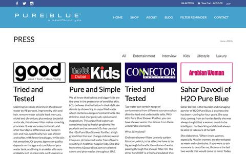 Screenshot of Press Page h2opureblue.com - H2O Pure Blue | Shower Filter that Eliminates Hairloss - captured Oct. 8, 2016