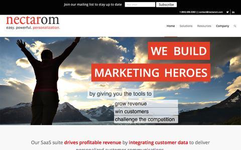 Screenshot of Home Page nectarom.com - nectarOM: The Easiest Marketing Personalization Platform - captured Dec. 4, 2015