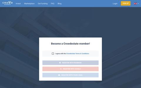 Screenshot of Signup Page crowdestate.eu - true - Crowdestate - captured May 19, 2019