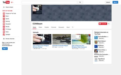 Screenshot of YouTube Page youtube.com - CCNSteam  - YouTube - captured Nov. 1, 2014