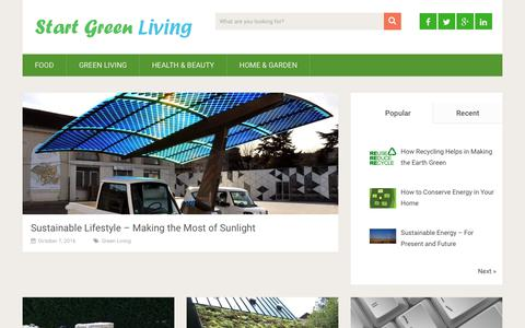 Screenshot of Home Page startgreenliving.com - Start Green Living For Healthy Tomorrow - captured June 17, 2017