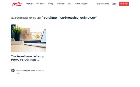 Screenshot of Jobs Page surfly.com - recruitment co-browsing technology Archives - Surfly - captured Jan. 3, 2020