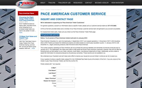 Screenshot of Support Page paceamerican.com - Trailer Customer Service   Contact Us   Pace American - captured July 15, 2018