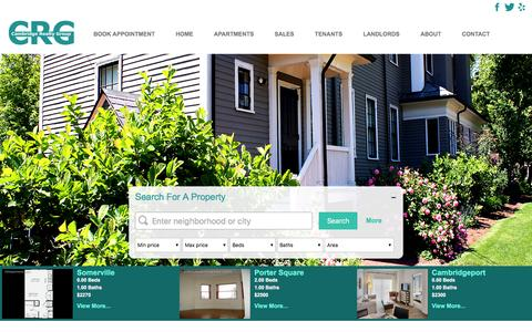 Screenshot of Home Page crgapartments.com - Cambridge Realty Group - Apartment Rentals in Cambridge - captured Jan. 25, 2016