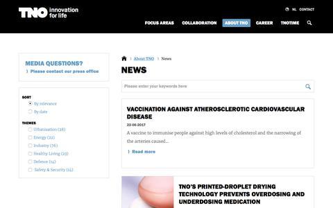 Screenshot of Press Page tno.nl - News | TNO - captured June 27, 2017