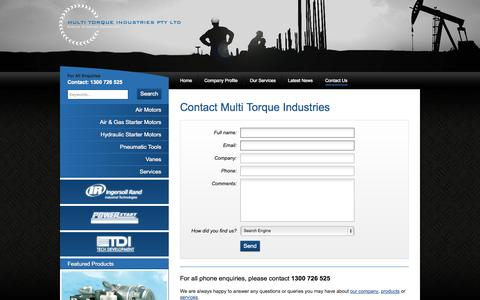 Screenshot of Contact Page multitorque.com - Contact Us :: Multi Torque Industries - Engine Starting Specialist - Perth - captured Oct. 6, 2014