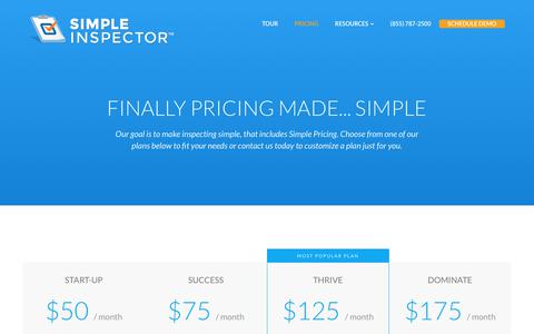 Screenshot of Pricing Page simpleinspector.com - Simple Inspector™ - captured June 13, 2017