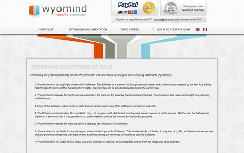 Screenshot of Terms Page wyomind.com - Wyomind - Magento Extension - Terms & Conditions - captured Nov. 2, 2014