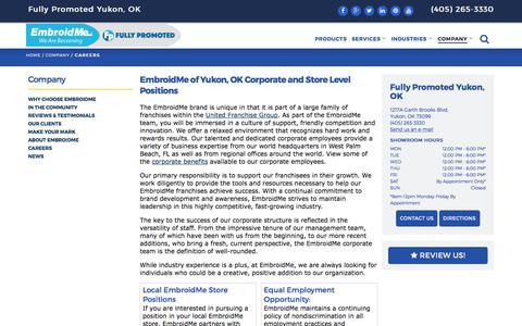 Screenshot of Jobs Page embroidme.com - Custom uniforms, Logo t shirt,Careers, Job Opportunities | EmbroidMe of Yukon, OK - captured Aug. 1, 2017