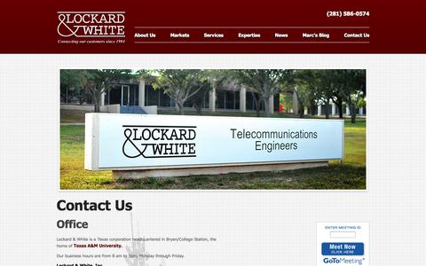 Screenshot of Contact Page Jobs Page lockardandwhite.com - Lockard & White - Connecting our customers since 1984 - Contact Us - captured Oct. 3, 2014