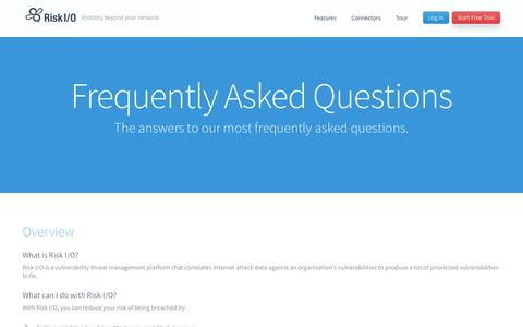 Screenshot of FAQ Page risk.io - Frequently Asked Questions  —  Risk I/O — Vulnerability Threat Management Platform - captured Sept. 17, 2014