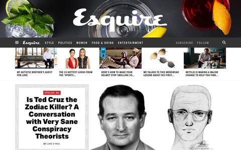 Screenshot of Home Page esquire.com - Esquire - Men's Fashion, Cocktails, Politics, Interviews, and Women - captured Feb. 20, 2016