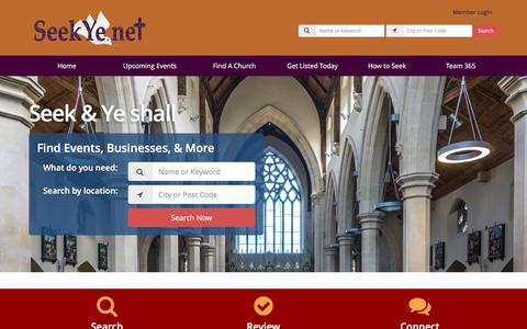 Screenshot of Home Page seekye.net - The Christian Directory - Find Churches & Businesses in SeekYe Network - captured Feb. 16, 2016