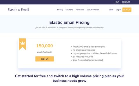 Screenshot of Pricing Page elasticemail.com - Pricing and Plans | Elastic Email - captured Aug. 16, 2018