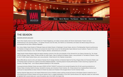Screenshot of Press Page wolvertonartists.com - Wolverton Artsts Management - The Season - captured May 18, 2016