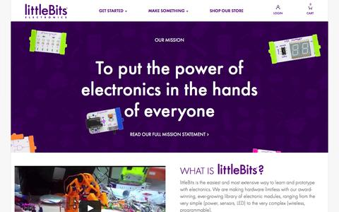 Screenshot of About Page littlebits.cc - New to littleBits? See how we make electronics prototyping easy - captured Sept. 16, 2014