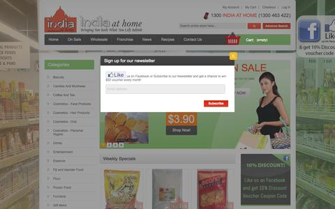 Screenshot of Home Page indiaathome.com.au - Indian Grocery Store in Melbourne & Perth, Australia - captured Sept. 23, 2014
