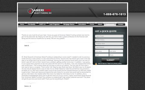 Screenshot of Testimonials Page americanselectfunding.com - American Select Funding, Inc. - Testimonials - captured Oct. 4, 2014