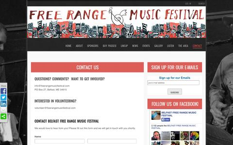 Screenshot of Contact Page freerangemusicfestival.com - Contact Us   BELFAST FREE RANGE MUSIC FESTIVAL - captured Sept. 30, 2014