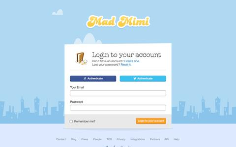 Screenshot of Login Page madmimi.com - Sign In To Your Mad Mimi Account : Create, send & track emails with Mad Mimi. - captured Sept. 16, 2014