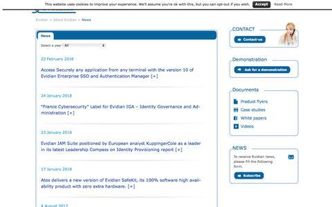 Screenshot of Press Page evidian.com - News - Evidian - captured March 17, 2018