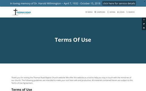 Screenshot of Terms Page trbc.org - Thomas Road Baptist Church | Terms  of Use - captured Oct. 21, 2018