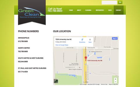 Screenshot of Contact Page greencleancare.com - Contact  |  Minneapolis Carpet Cleaning - captured Sept. 24, 2014