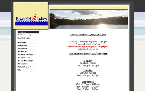 Screenshot of Hours Page elainc.org - Emerald Lakes Association - Hours of Operation - captured June 17, 2016
