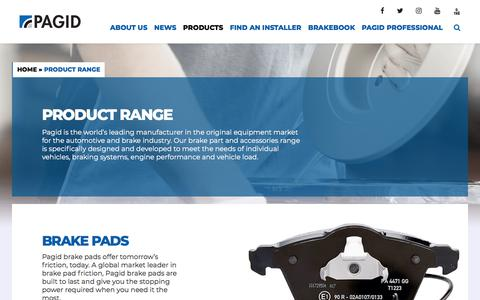 Screenshot of Products Page pagid.com - Braking Product Range | Pagid TMD Friction - captured Feb. 14, 2018