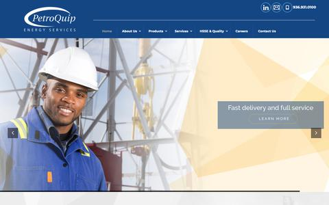 Screenshot of Home Page petroquip.com - Home - PetroQuip Energy Services - Well Completion TechnologyPetroQuip Energy Services - captured Sept. 27, 2018