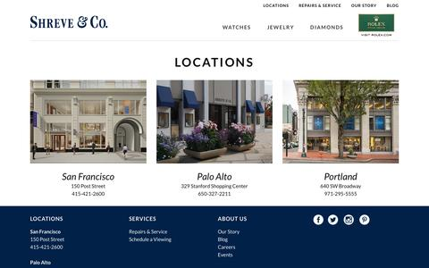 Screenshot of Locations Page shreve.com - Shreve & Co.   Locations   Shreve & Co. - captured Dec. 3, 2016